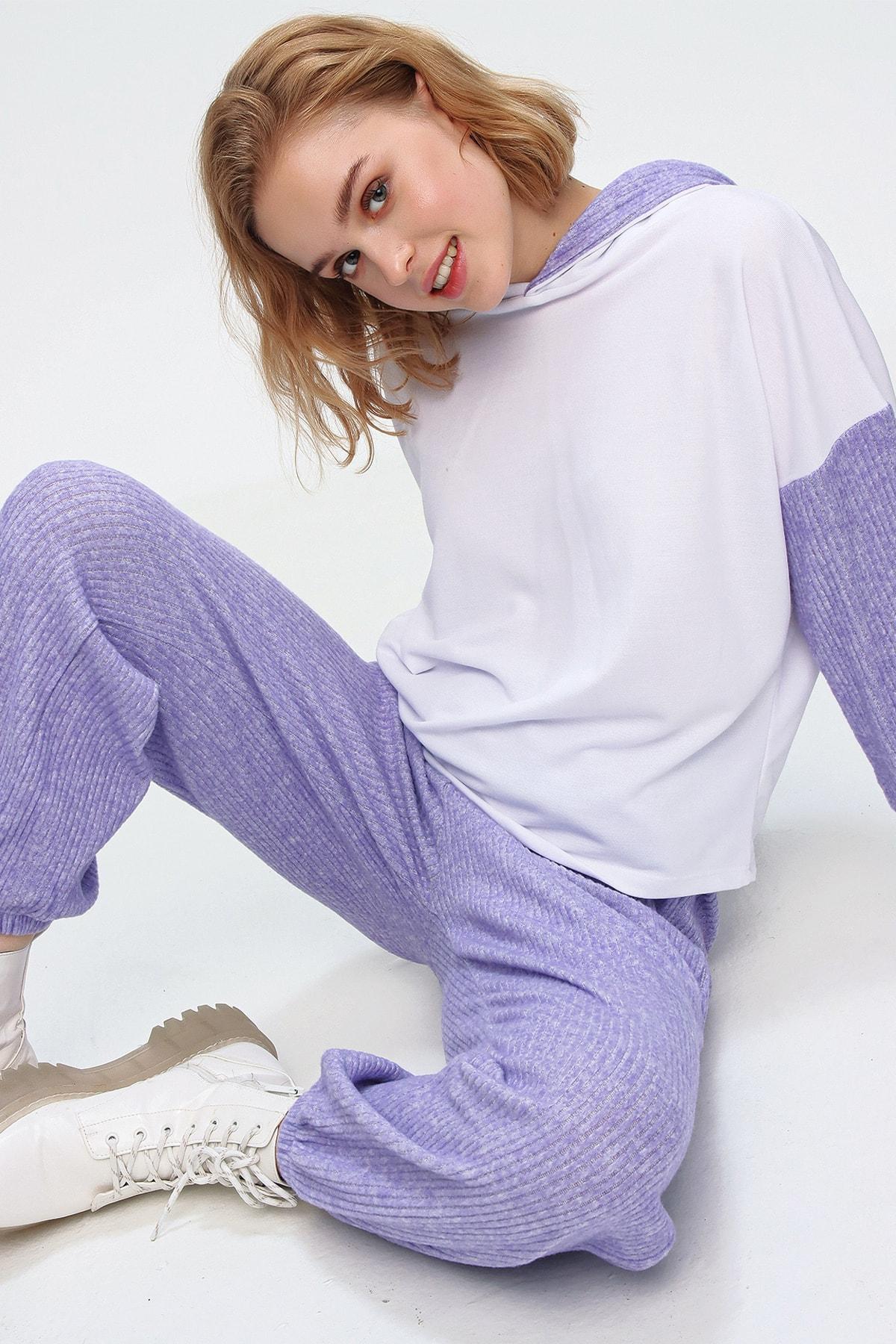 Trend Alaçatı Stili Kadın Lila Renk Bloklu Angored Kapüşonlu Eşofman Takım ALC-507-520-ANG