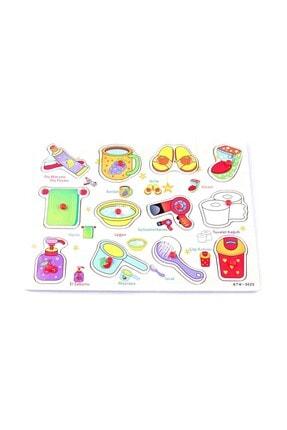 Learning Toys Ahşap Tutmalı Eğitici Yapboz - Banyo Gereçleri 0