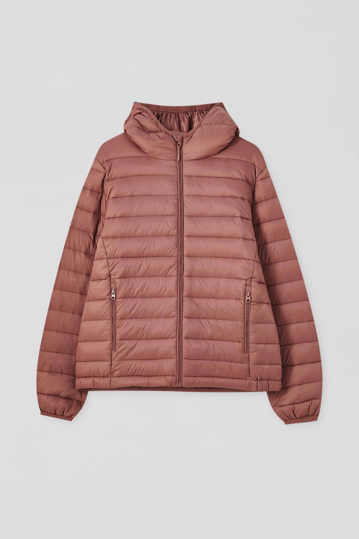 Pull & Bear Kadın Kil Rengi Basic Şişme Mont 09714333 4