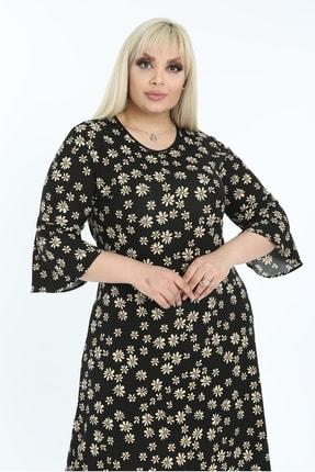 1fazlası Kadın Siyah Volan Kol Krep Kumaş Elbise 3