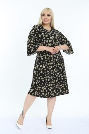 1fazlası Kadın Siyah Volan Kol Krep Kumaş Elbise 4