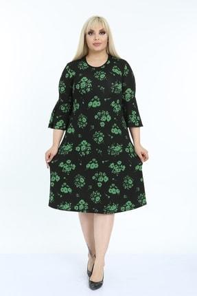 1fazlası Kadın Büyük Beden Volan Kol Krep Kumaş Elbise 2