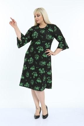 1fazlası Kadın Büyük Beden Volan Kol Krep Kumaş Elbise 3