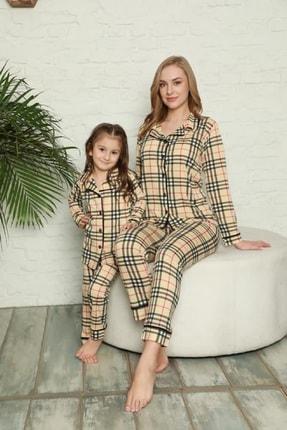 Kaktüs Moda Polat Yıldız Kareli Desen Anne Kız Pijama Takımı Kombini 20112 0