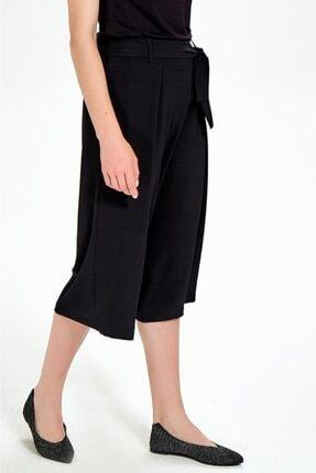 İkiler Kadın Siyah Beli Lastikli Ve Kuşaklı Bol Kısa Pantolon 3