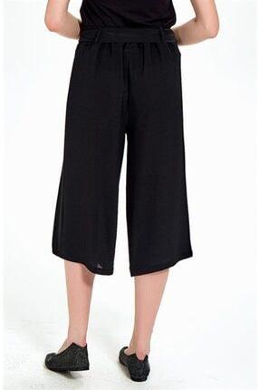 İkiler Kadın Siyah Beli Lastikli Ve Kuşaklı Bol Kısa Pantolon 4