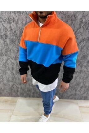 RAYZ Erkek Blok Renkli Balıkçı Yaka Fermuarlı Oversize Sweatshirt 1