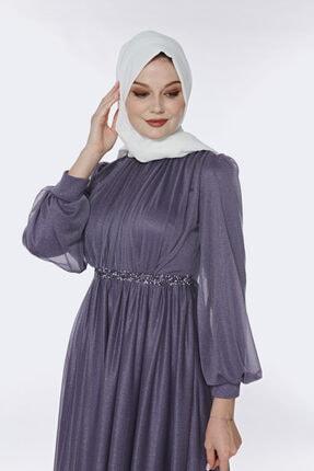 Muud Fashion Taş Kemer Detaylı Simli Tesettür Elbise 2
