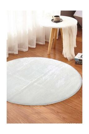 Sarar Yuvarlak Düz Renk Peluş Pofuduk Kaydırmaz Jel Taban Beyaz Renk Halı 100 X 100 Cm 2