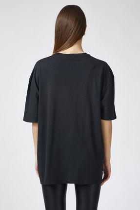 Happiness İst. Kadın Siyah Baskılı Oversize Uzun T-shirt ZV00065 2