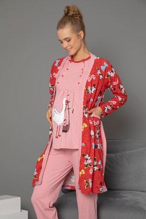 Strawberry 3'lü Set Hamile Sabahlık-pijama Takım 0