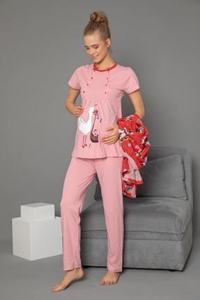 Strawberry 3'lü Set Hamile Sabahlık-pijama Takım 2