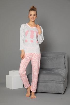 Strawberry Pamuklu Baskılı Uzun Kol Pijama Takım 1