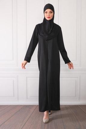Feyza Fashion Fermuarlı Tek Parça Pratik Giyimli Namaz Elbisesi Siyah 2