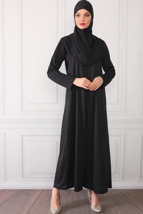Feyza Fashion Fermuarlı Tek Parça Pratik Giyimli Namaz Elbisesi Siyah 3