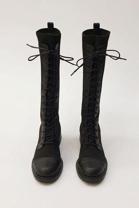 Marjin Kadın Siyah Günlük Çorap Postal Çizme 4