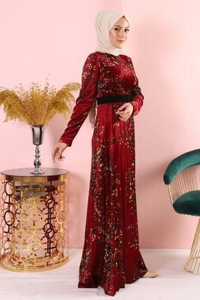 AbiyeSultan Bordo Kadife Elbise 1