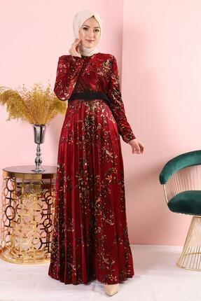 AbiyeSultan Bordo Kadife Elbise 2