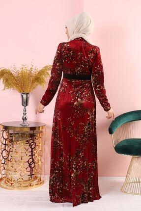 AbiyeSultan Bordo Kadife Elbise 3