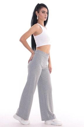 ALL TIME Kadın Gri Kaşkorse Fitilli Örme Pantolon 2
