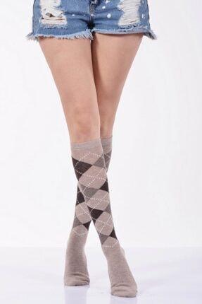 Idilfashion Ekoseli Dizaltı Kadın Çorabı - Bej B-art013 LTB013041811