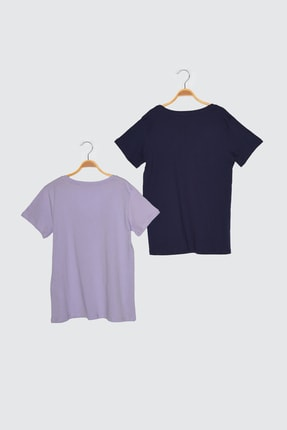TRENDYOLMİLLA Lacivert-Lila %100 Pamuk Basic V Yaka 2'li Paket Örme T-Shirt TWOSS20TS0142 1