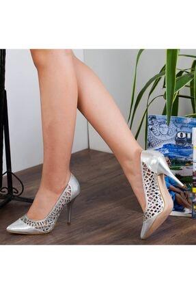 Adım Adım Gümüş Stiletto Yüksek Topuk Abiye Gelin Kadın Ayakkabı • A182ysml0011 3