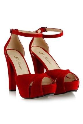 Platform Ayakkabı Modelleri Kırmızı Süet 10306KRS