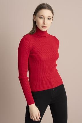 Tena Moda Kadın Kırmızı Balıkçı Yaka Fitilli Triko Kazak 2