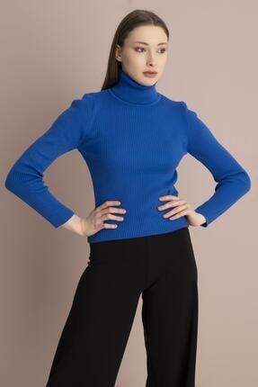 Tena Moda Kadın Saks Balıkçı Yaka Fitilli Triko Kazak 3