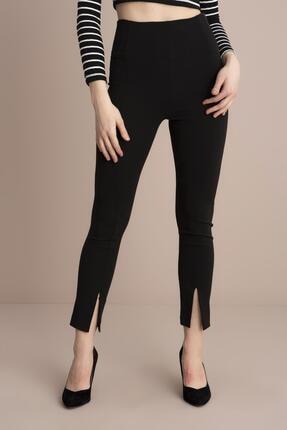 Tena Moda Kadın Siyah Yüksek Bel Paça Yırtmaçlı Pantolon 1