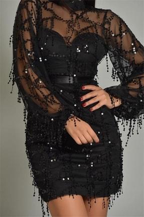 Modakapimda Fm Siyah Pul Payet Kısa Abiye Elbise Büyük Beden 2