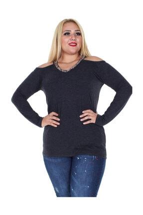Günay Kadın Bluz Rg6210 Sonbahar Kış V Yaka Taş Omuz Detay-sıyah 0