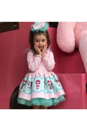 Ricco Pembe Turkuaz Tütülü Lol Baby Kız Çocuk Elbise 2