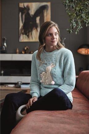 Anıl 9564 Kadın Pijamapolar Tavşanlı Sweatshirt Pantolon Takım 1