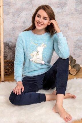 Anıl 9564 Kadın Pijamapolar Tavşanlı Sweatshirt Pantolon Takım 2