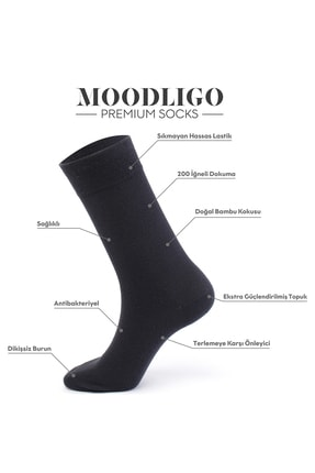 Moodligo Premium 6'lı Erkek Bambu Çorap - 2 Siyah 2 Lacivert 2 Füme 1