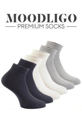 Moodligo Premium 6'lı Bambu Patik Erkek Çorap 2 Füme 2 Gri 2 Beyaz 1