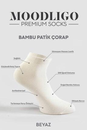 Moodligo Premium 6'lı Bambu Patik Erkek Çorap 2 Füme 2 Gri 2 Beyaz 4