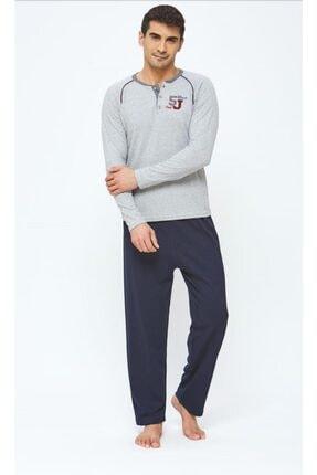 20416 Erkek Şardonlu Interlok Pijama Takımı Gri resmi