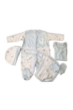Pierre Cardin Erkek Bebek Mavi Hastane Çıkışı 5 Li Yazı Baskılı 2