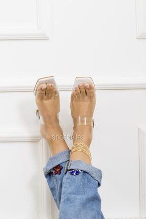 SHOEBELLAS Beyaz Şeffaf Kadın Şeffaf Topuklu Terlik 0