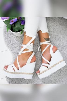 Limoya Shreya Beyaz Yüksek Dolgu Topuklu Bilekten Bağlamalı Sandalet 3