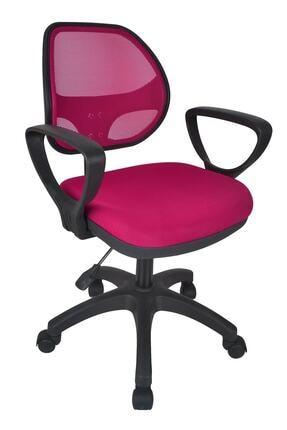 TOMAR Fileli Kollu Personel Koltuğu Ofis Koltukları Bilgisayar Koltuğu Sekreter Sandalyesi - Pembe 0