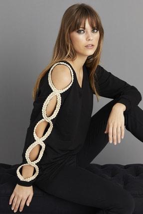 Cool & Sexy Kadın Siyah Kol Detaylı Sweatshirt BK1062 1