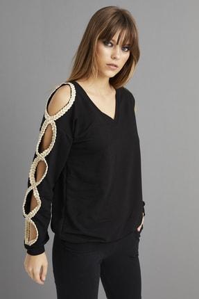 Cool & Sexy Kadın Siyah Kol Detaylı Sweatshirt BK1062 4