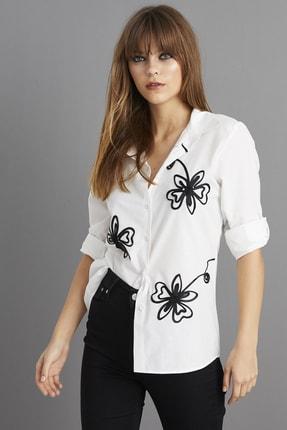 Cool & Sexy Kadın Beyaz Nakışlı Gömlek BP1047 1