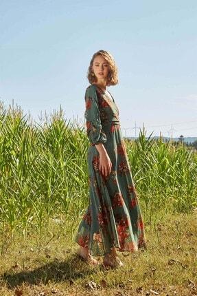 Modakapimda Yeşil Çiçekli Uzun Büyük Beden Şifon Elbise 2