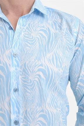Efor G 1407 Slim Fit Mavi Spor Gömlek 4