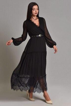 Modakapimda Siyah Etek Ucu Tül Kemerli Büyük Beden Şifon Elbise 2
